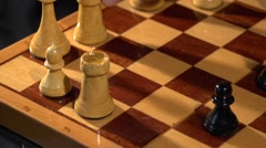 Chessboard and chess pieces.  Chess. strong pawn move Stock Footage