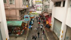 Urban street people pass through high angle, fruits stalls beside, TIMELAPSE Stock Footage