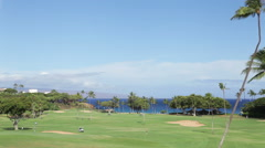 Golf course pan, Kaanapali, Maui, Hawaii Stock Footage