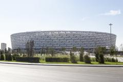 View of Baku National Stadium in Baku, Azerbaijan. - stock photo