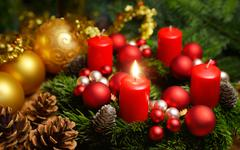 Advent wreath with one burning candle - stock photo