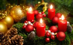 Advent wreath with 4 burning candles - stock photo