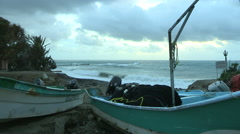 Mexican Panga/Fishing Boat with Stormy Weather Stock Footage
