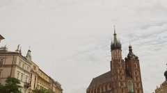 Church of St. Mary  in the main Square in the city of Krakow in Poland. timel - stock footage