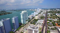 West Avenue Miami Beach aerial footage Stock Footage