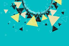 Triangles, stars and circle pattern background. - stock illustration