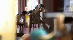 Horse on carousel ride Stock Footage