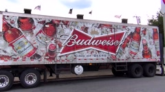 Budweiser beer delivery truck, company logo Stock Footage