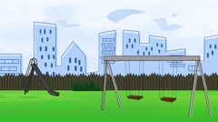Animated cartoon of a playground swing set - stock footage