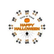 Halloween hexagon logo sign - stock illustration