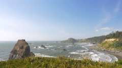 Otter Point, Southern Oregon coast (wide) Stock Footage