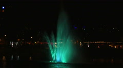 Water Fountain with Green Light at Night, 4K Stock Footage