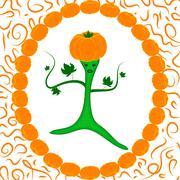 Pumpkin Queen in the frame of pumpkins - stock illustration