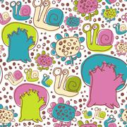 Vector Seamless Pattern with Snails Flowers and Trees - stock illustration