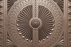 Door ornament at the Entrance of the Sultan Qaboos Grand Mosque, Oman - stock photo