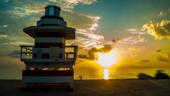 Timelapse 4K Sobe South Beach sunrise lifeguard in Miami Beach, Florida Stock Footage