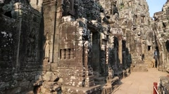 Stock Video Footage of Angkor Thom temple complex in Siem Reap, Cambodia
