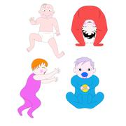 little children of different ages and in different poses - stock illustration
