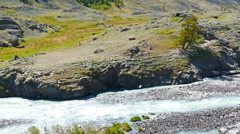 Mountain landscape with river in Altay, Russia Stock Footage