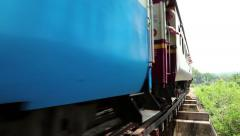 Stock Video Footage of Train on old railroad near Kwai river in Thailand