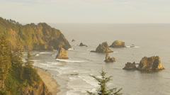 Sunset on China Beach, Southern Oregon coast (zoom out) Stock Footage