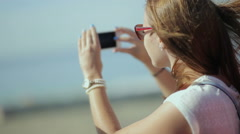 Young beatiful woman travel, sightseeing in tourist bus - happy teenage girl in Stock Footage