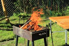 Fire burns in the grill Stock Photos