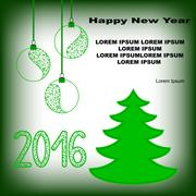 New year postcard with fir tree and new year toys - stock illustration