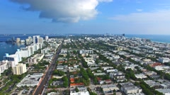 Aerial 4K Sobe South Beach bay in Miami Beach, Florida - stock footage