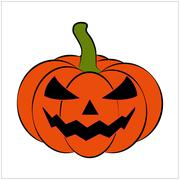 Halloween pumpkin vector illustration, Jack O Lantern  isolated on white back - stock illustration
