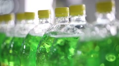 Technological Line For Bottling Of Soda In Factory Stock Footage