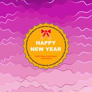 Wavy round symbol of new year on wavy and multicolored background Stock Illustration