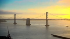 San Francisco Bay Bridge Morning Sunrise Stock Footage