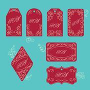 Elegant victorian swirl gift tag - stock illustration