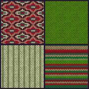 Seamless Knitted Pattern. Set of Christmas Samples - stock illustration