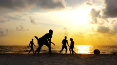 4k Football play compositions at summer beach sunset. 6 videos of groups of c Stock Footage