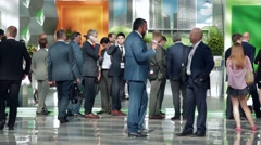 Walking busy businessman Crowd congress hall on International Investment Forum Stock Footage
