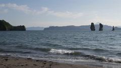 Avachinskaya Bay and Three Brothers Rocks on Kamchatka Peninsula Stock Footage