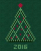 Christmas tree with red stylized star and balls - stock illustration