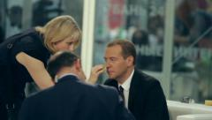Prime minister ex-president Dmitry Medvedev on International Investment Forum Stock Footage