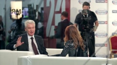 Mayor of Moscow statesman politician Sergey Sobyanin at Investment Forum Stock Footage