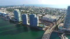 Aerial 4K Sobe South Beach bay in Miami Beach, Florida Stock Footage