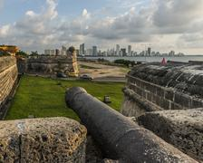 Stock Photo of Antique cannon on the walls of the old town of Cartagena de Indias, Colombia.