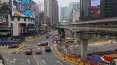 Monorail and busy traffic at Bukit Bintang,Kuala Lumpur,Malaysia Stock Footage