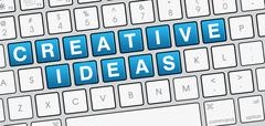 Creative Ideas closeup on Keyboard - stock illustration