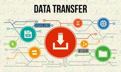 Data transfer infographic with icons and chart Stock Illustration