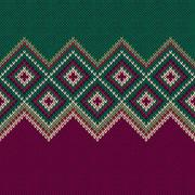 Seamless Pattern. Knit Woolen Trendy Ornament Texture - stock illustration
