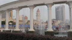 Fountains on merdeka square,Kuala Lumpur,Malaysia Stock Footage