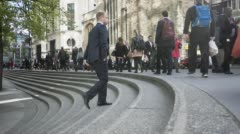 Stock Video Footage of Time lapse video of commuters walking to work St Andrew Undershaft church dur