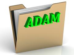 ADAM- Name and Family bright letters on gold folder on a white background Stock Illustration